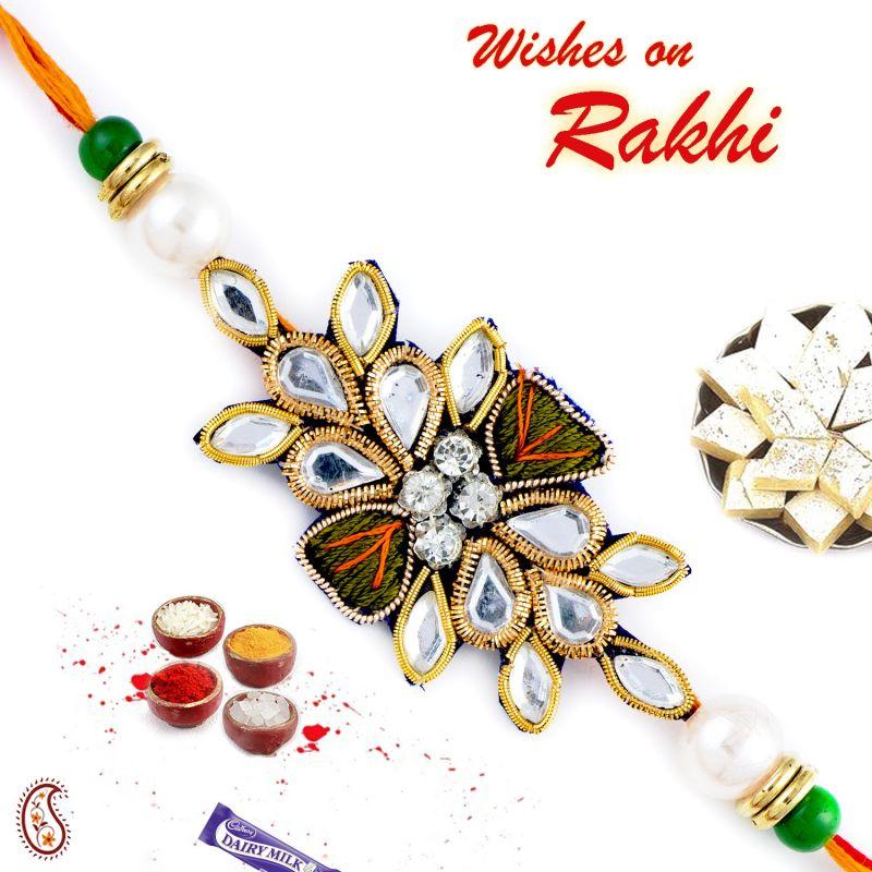 Buy Aapno Rajasthan Kundan & White Beads Studded Zardosi Rakhi - Prs17197 online