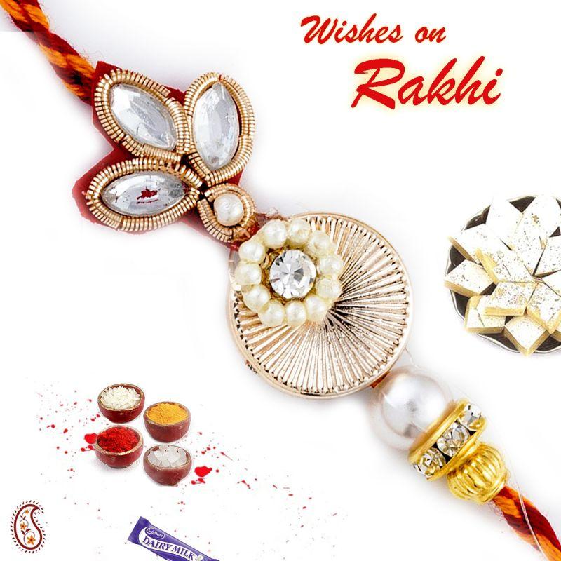 Buy Rakhi For Abroad_aapno Rajasthan White Beads & Kundan Studded Zardosi Rakhi - Int_prs17204 online