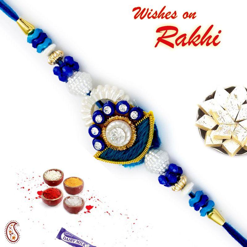 Buy Aapno Rajasthan Ad Studded Beautiful Blue Base Zardsoi Rakhi - Prs17226 online
