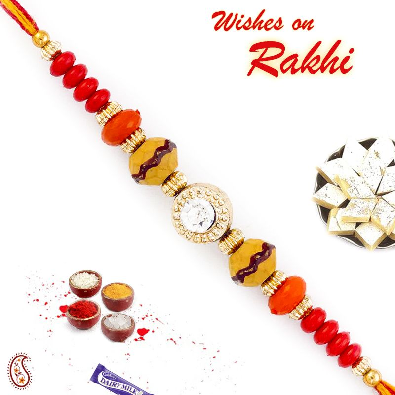 Buy Aapno Rajasthan Crystal Stone Studded Multicolor Beads Thread Rakhi - Prs1751 online