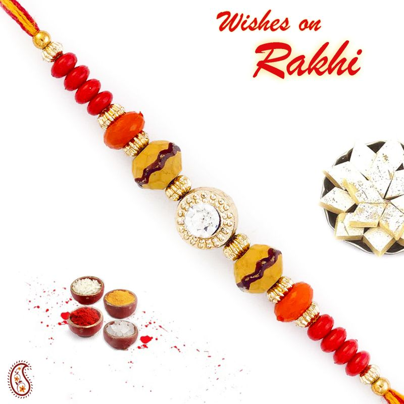 Buy Rakhi For Uae- Aapno Rajasthan Crystal Stone Studded Multicolor Beads Thread Rakhi - Uae_prs1751 online