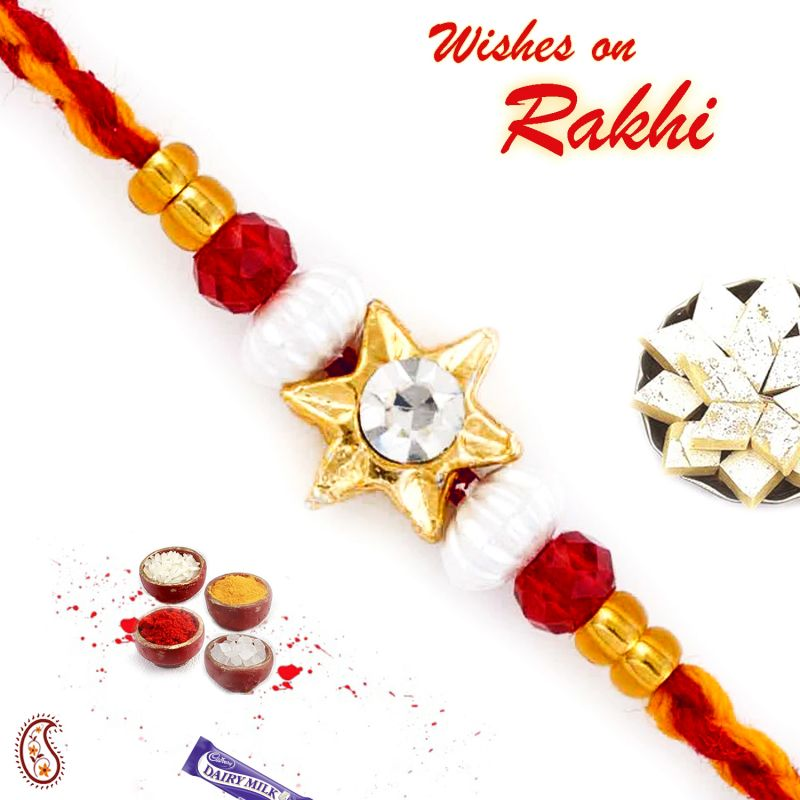 Buy Aapno Rajasthan Golden Star Motif Mauli Thread Rakhi - Prs1756 online