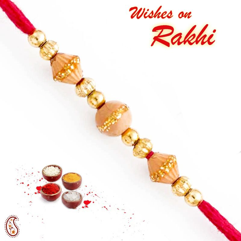 Buy Rakhi For Uae- Aapno Rajasthan Beige & Gold Beads Embellished Thread Rakhi - Uae_prs1771 online
