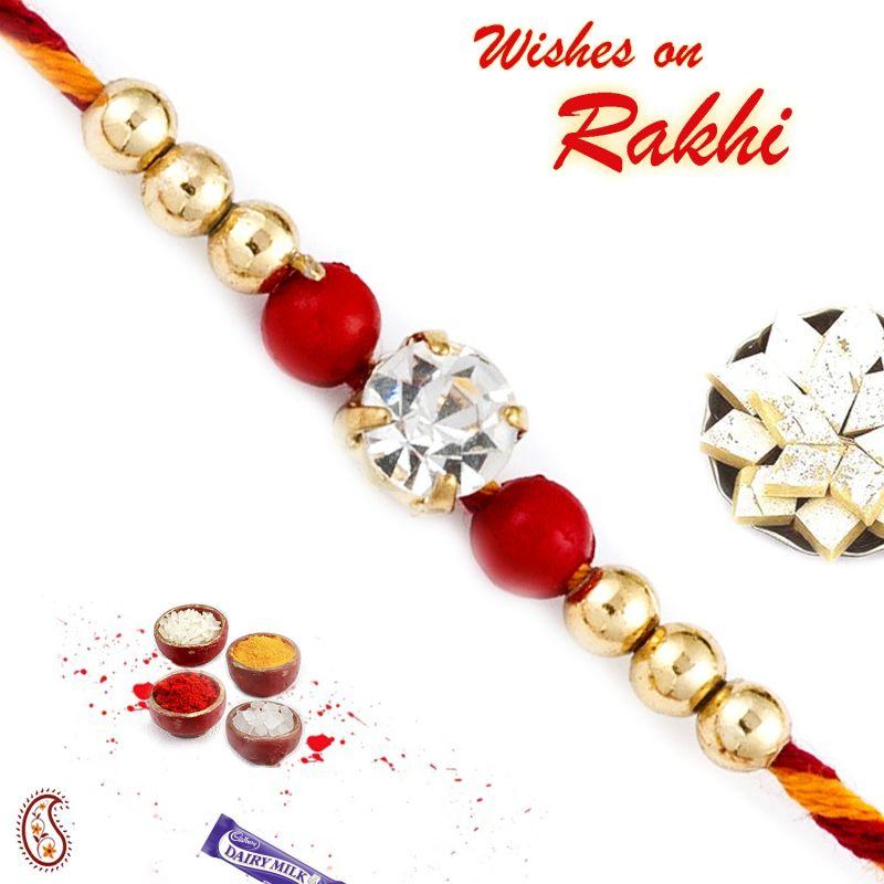 Buy Aapno Rajasthan Red & Golden Beads Mauli Thread Rakhi - Prs1788 online