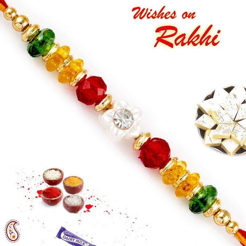Buy Aapno Rajasthan Colorful Crystal Beads Mauli Thread Rakhi - Prs1791 online