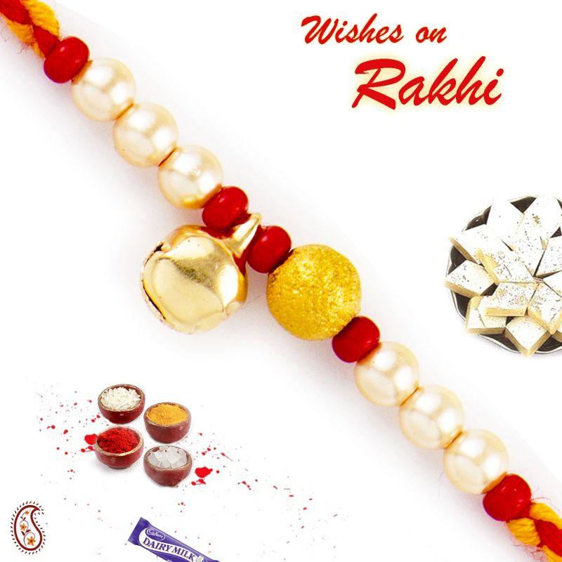Buy Rakhi For Abroad_aapno Rajasthan White & Red Beads Rakhi With Bell - Int_prs1794 online
