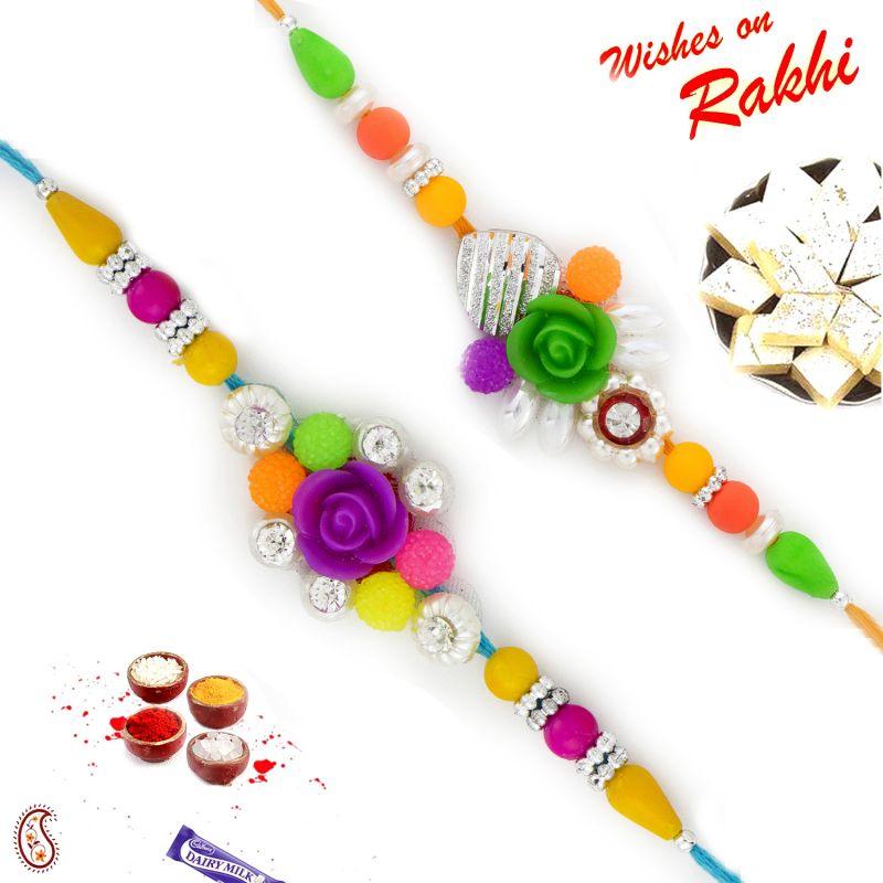 Buy Aapno Rajasthan Set Of 2 Multicolor Beads & Rose Rakhi - Pst17217 online