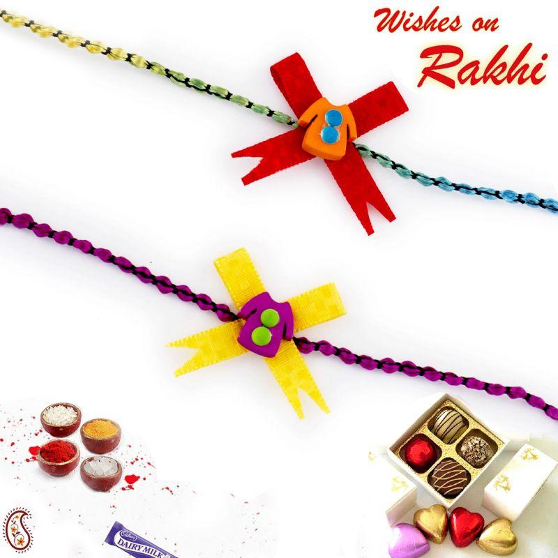 Buy Aapno Rajasthan Set Of 2 Yellow & Red Dress Motif Kids Rakhi - Pst17261 online