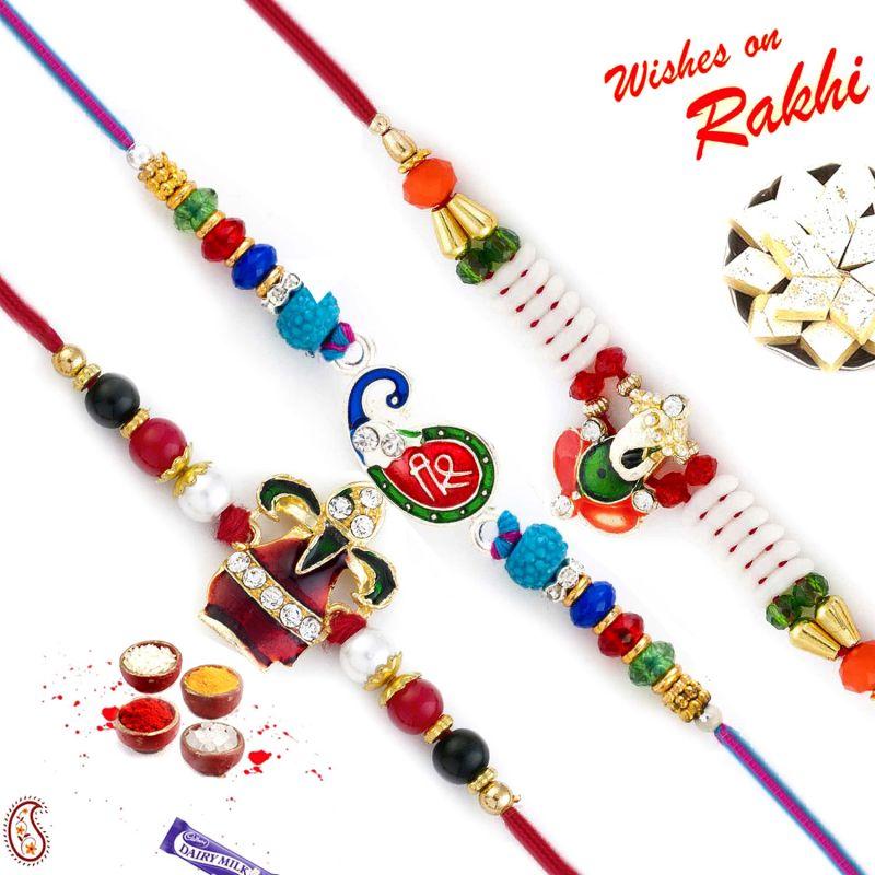 Buy Rakhi For Abroad_aapno Rajasthan Set Of 3 Shree, Kalash & Ganesha Motif Rakhi - Int_pst17316 online