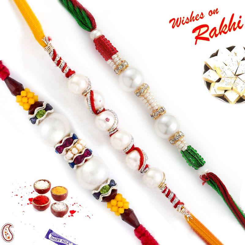Buy Aapno Rajasthan Set Of 3 Multicolor Beads & Fresh Water Peral Rakhi - Pst17318 online