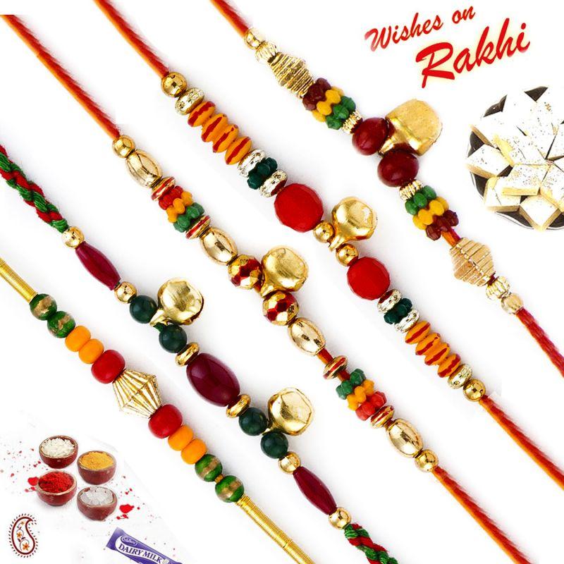 Buy Rakhi For Abroad_aapno Rajasthan Set Of 5 Multicolor Beads & Bell Embellished Rakhis - Int_pst17512 online