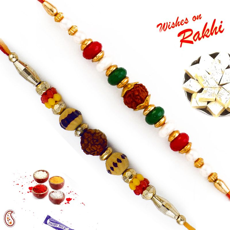 Buy Aapno Rajasthan Set Of 2 Rudraksh Rakhi With Beads online