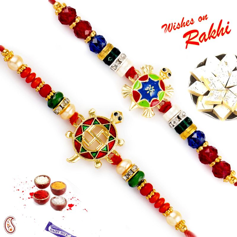 Buy Aapno Rajasthan Set Of 2 Traditional Enamel Work Rakhi online