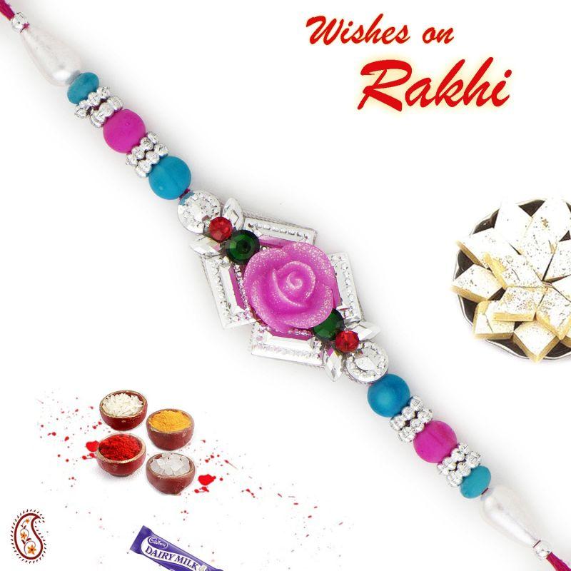 Buy Aapno Rajasthan Pink & Blue Beads Studded Rose Shape Rakhi - Rb17627 online