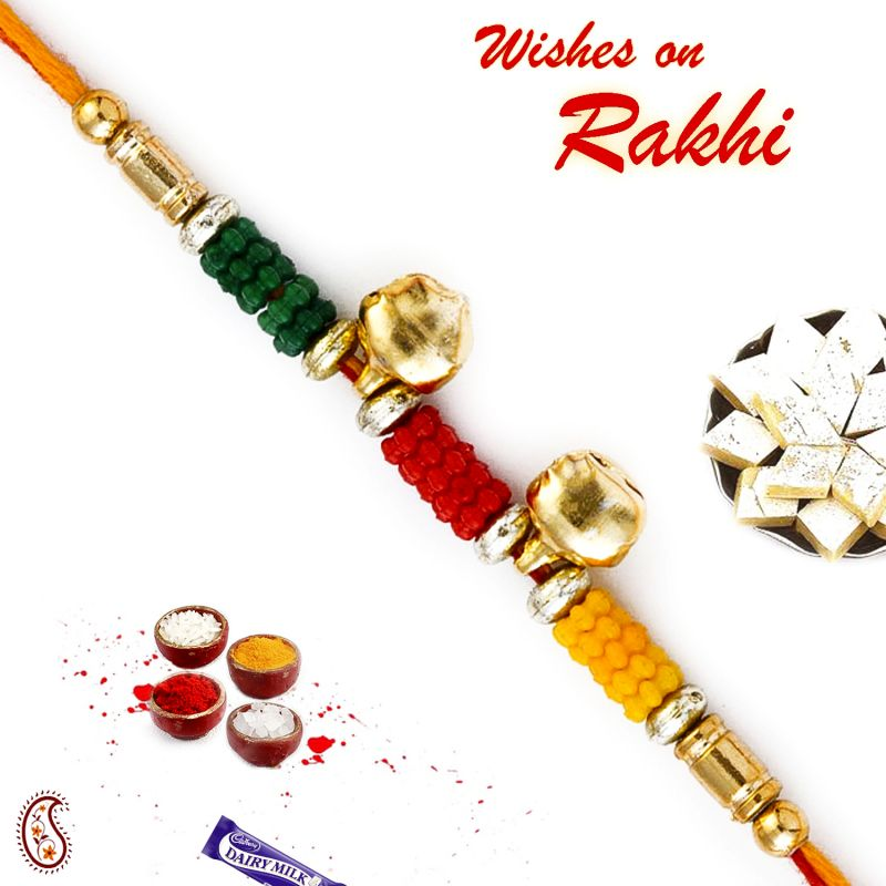 Buy Aapno Rajasthan Colorful Beads Rakhi With 2 Small Bells - Rb17630 online