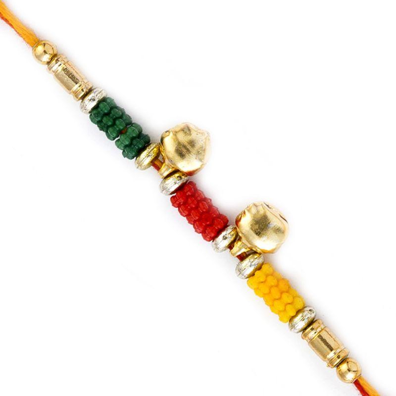 Buy Rakhi For Uae- Aapno Rajasthan Colorful Beads Rakhi With 2 Small Bells - Uae_rb17630 online