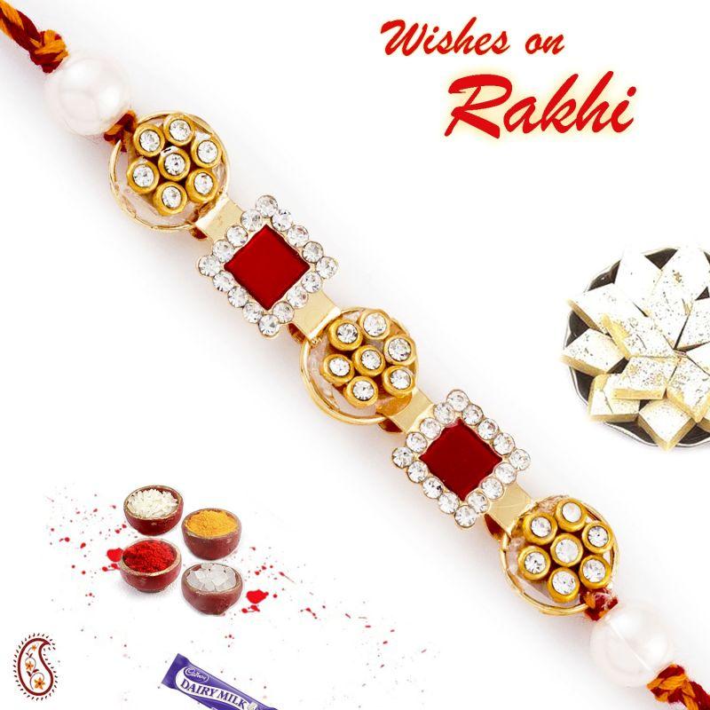 Buy Aapno Rajasthan Ad Studded Red Square Motif Rakhi - Rb17644 online