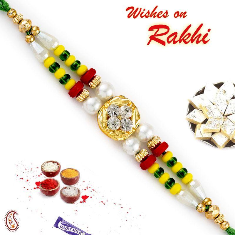 Buy Rakhi For Abroad_aapno Rajasthan Dual String Multicolor Beads Fancy Rakhi - Int_rb17652 online