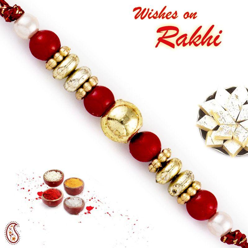 Buy Aapno Rajasthan Red & Golden Solid Round Beads Rakhi - Rb17685 online