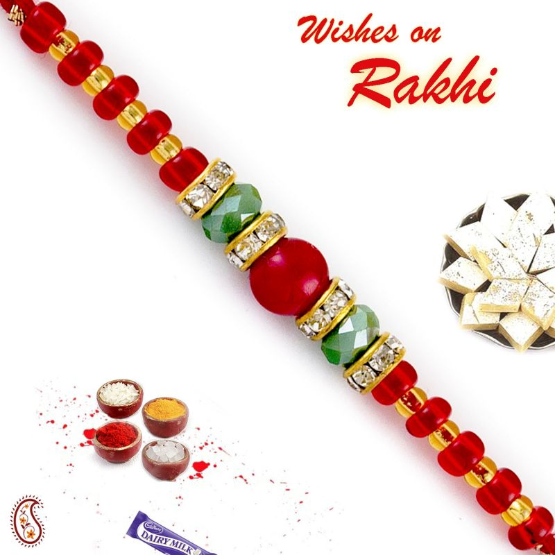 Buy Rakhi For Abroad_aapno Rajasthan Solid Red & Crystal Green Beads Embellished Rakhi - Int_rb17688 online
