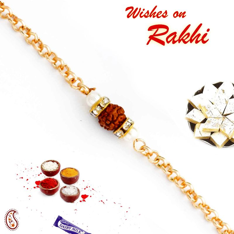 Buy Aapno Rajasthan Single Rudraksh Studded Chain Style Rakhi - Rd17401 online