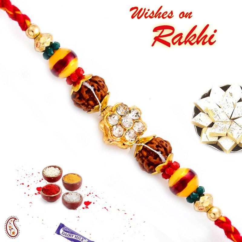 Buy Aapno Rajasthan Multicolor Beads & Ad Studded Rudraksh Rakhi - Rd17408 online