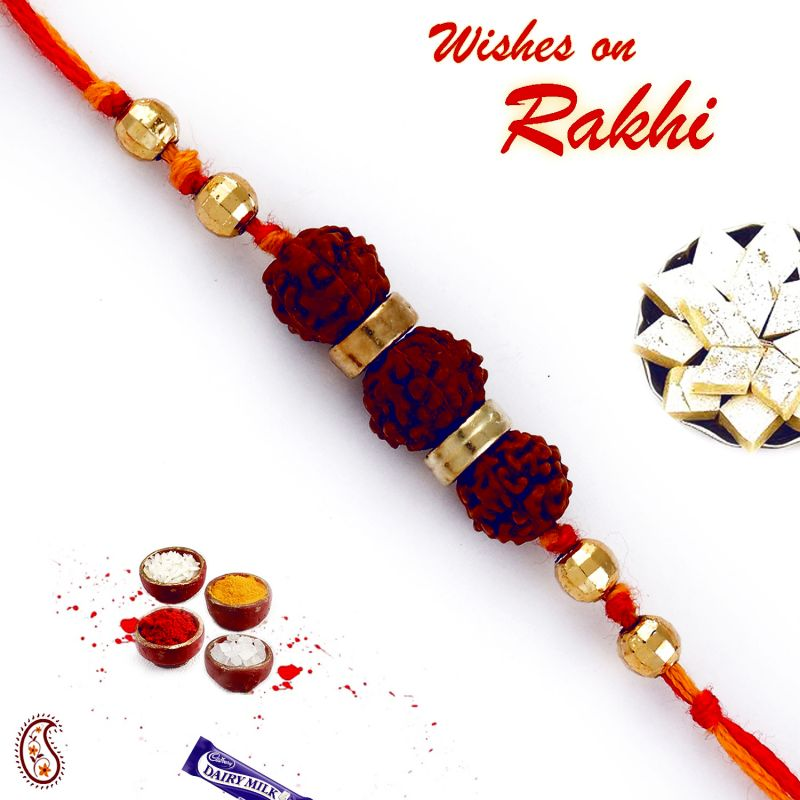 Buy Aapno Rajasthan Three Rudraksh Golden Beads Rakhi - Rd17435 online