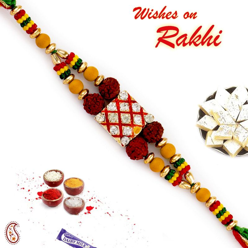 Buy Aapno Rajasthan Multicolor Beads & Ad Studded Quadra Rudraksh Rakhi - Rd17460 online