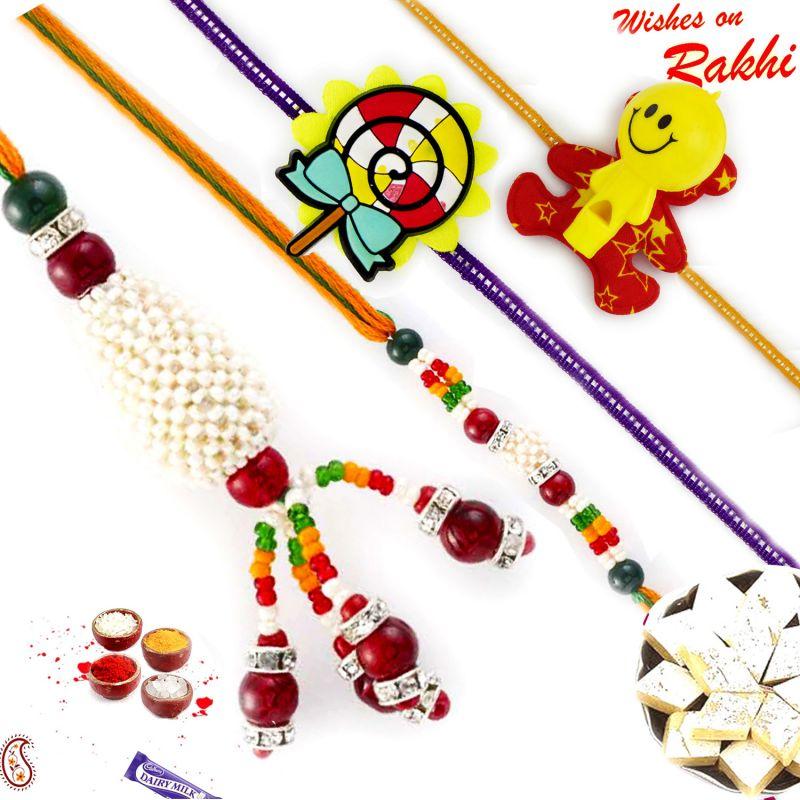Buy Rakhi For Abroad_aapno Rajasthan Multicolor Beads Bhaiya Bhabhi Rakhis With 2 Kids Rakhis - Int_rf1730 online