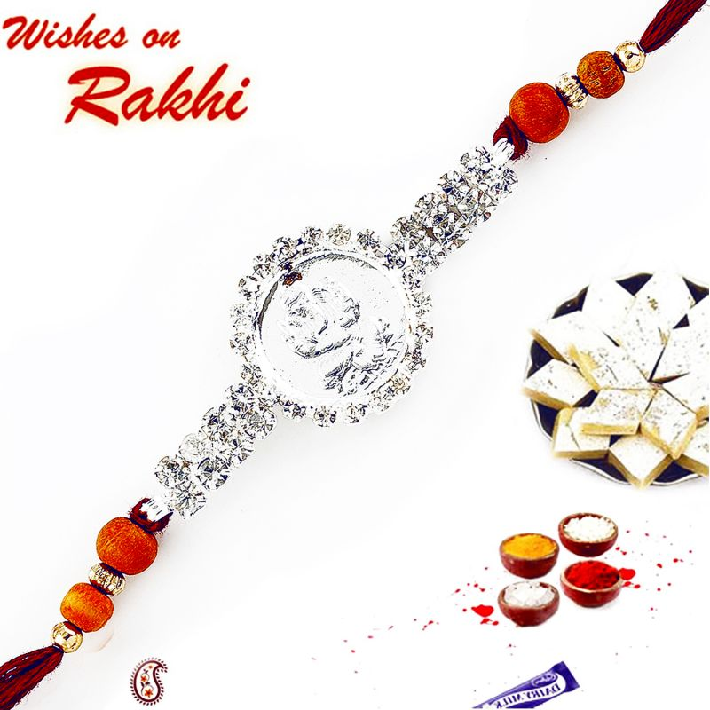 Buy Aapno Rajasthan Silver Plated Ganeshji Rakhi With American Diamonds And Wooden Beads - Rj17234 online