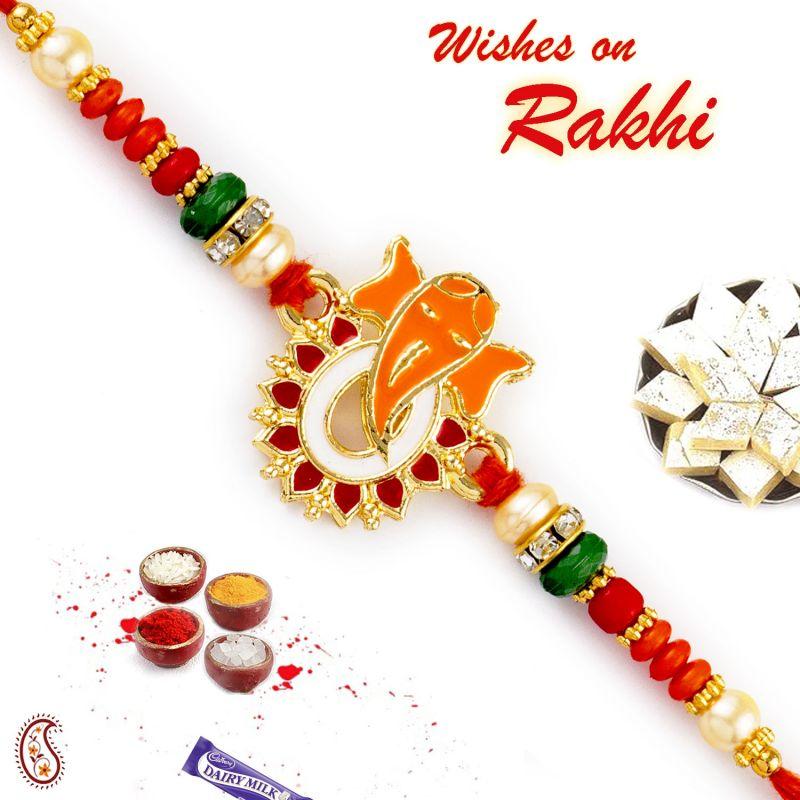 Buy Rakhi For Usa- Aapno Rajasthan Aapno Rajasthan Red & Green Beads Studded Ganesha Motif Rakhi - Us_rj17265 online