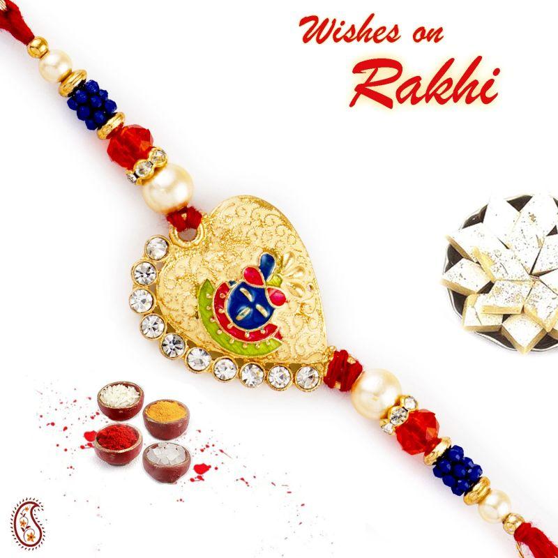 Buy Rakhi For Usa- Aapno Rajasthan Aapno Rajasthan Blue & Orange Beads Shree Ji Motif Rakhi - Us_rj17277 online