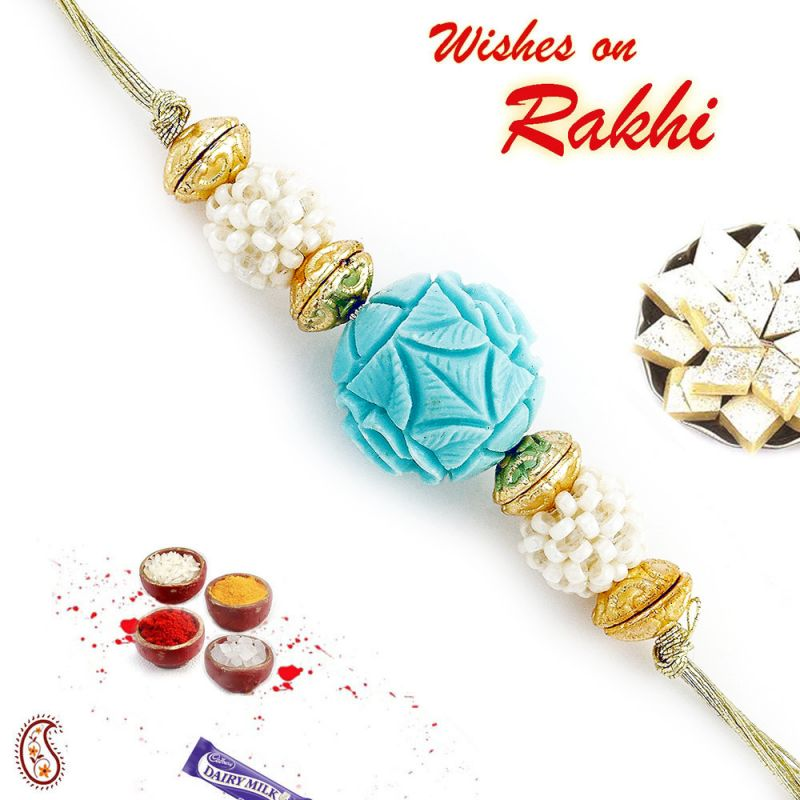 Buy Aapno Rajasthan Turquoise Coral Rakhi With Pearl Balls - Rj17370 online
