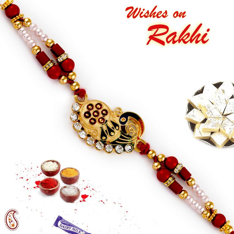 Buy Aapno Rajasthan Beautifully Jewelled Peacock Motif Rakhi - Rj17382 online