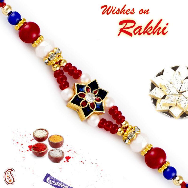 Buy Rakhi For Abroad_aapno Rajasthan Red & White Beds Studded Meenakari Work Rakhi - Int_rj17406 online