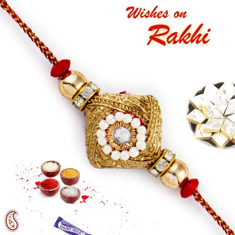 Buy Rakhi For Abroad_aapno Rajasthan Golden & White Beads Studded Square Base Rakhi - Int_rj17429 online