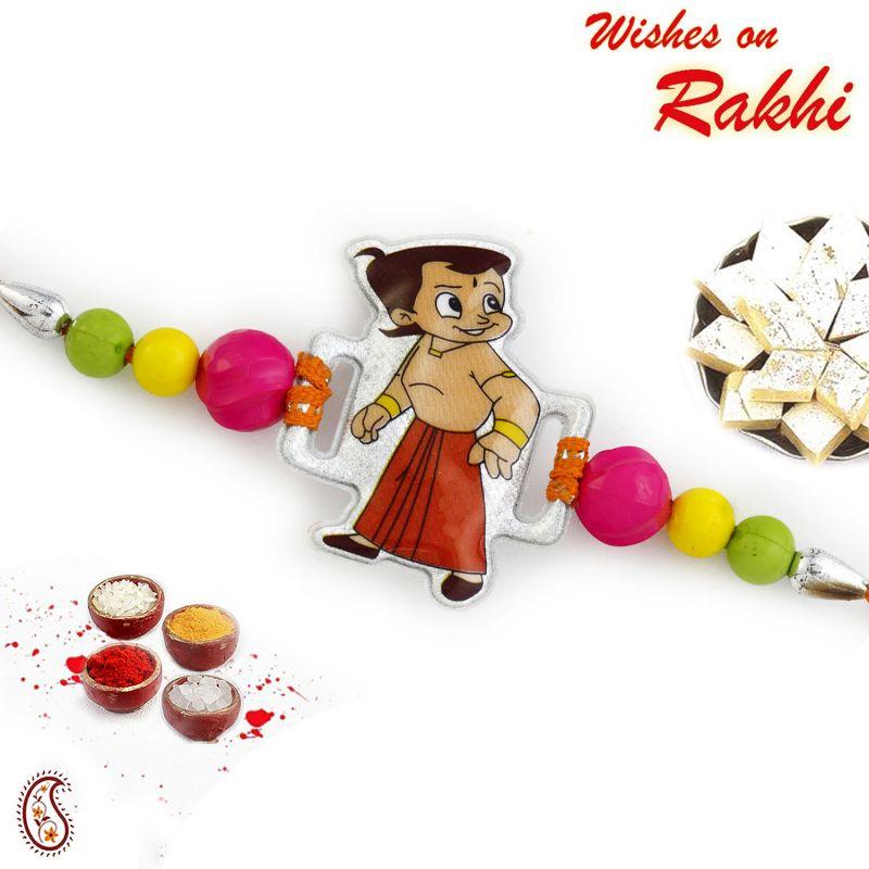 Buy Rakhi For Usa- Aapno Rajasthan Tri Color Beads Studded Kids Rakhi - Us_rk16864 online