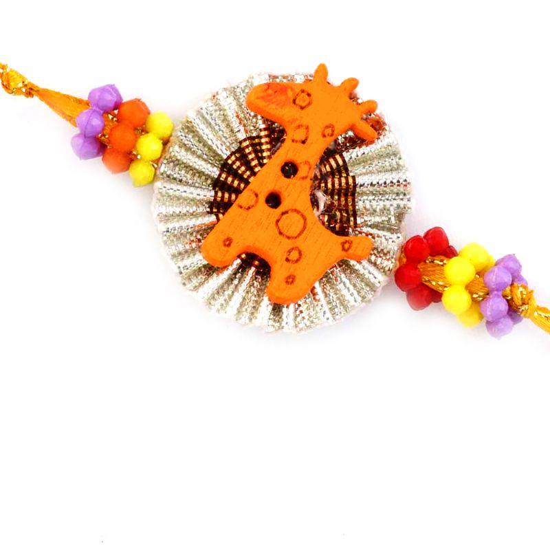 Buy Rakhi For Uae- Aapno Rajasthan Cute Brown Giraffe Motif Kids Rakhi - Uae_rk17708 online