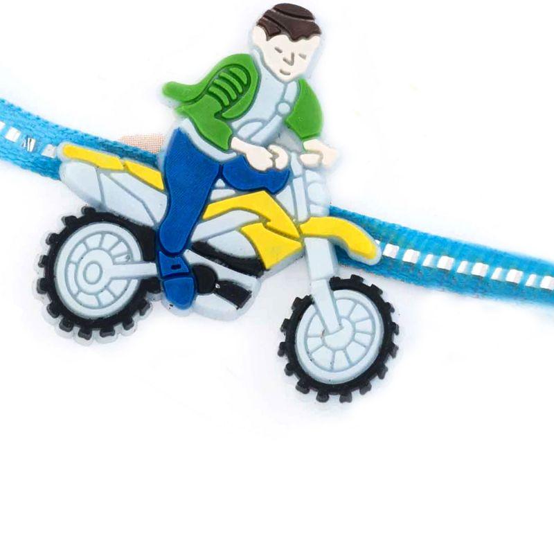 Buy Rakhi For Uae- Aapno Rajasthan Cute Motor Bike Racer Motif Kids Rakhi - Uae_rk17743 online