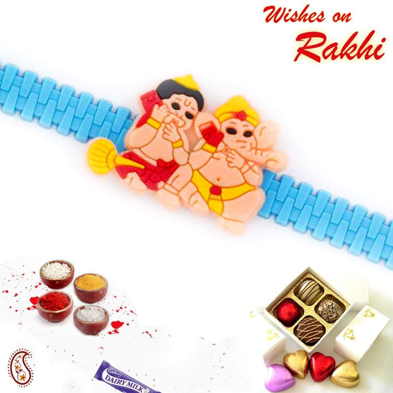 Buy Aapno Rajasthan Cute Hanuman & Ganesh Talking On Mobile Kids Rakhi - Rk17781 online