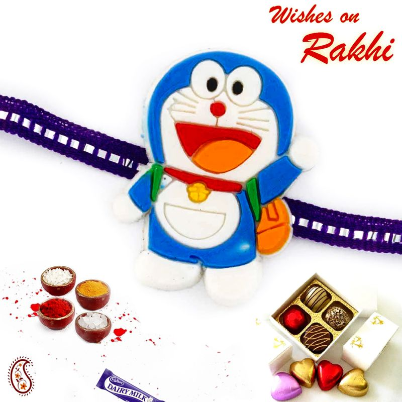 Buy Aapno Rajasthan Lovable Doremon Purple Band Kids Rakhi - Rk17791 online