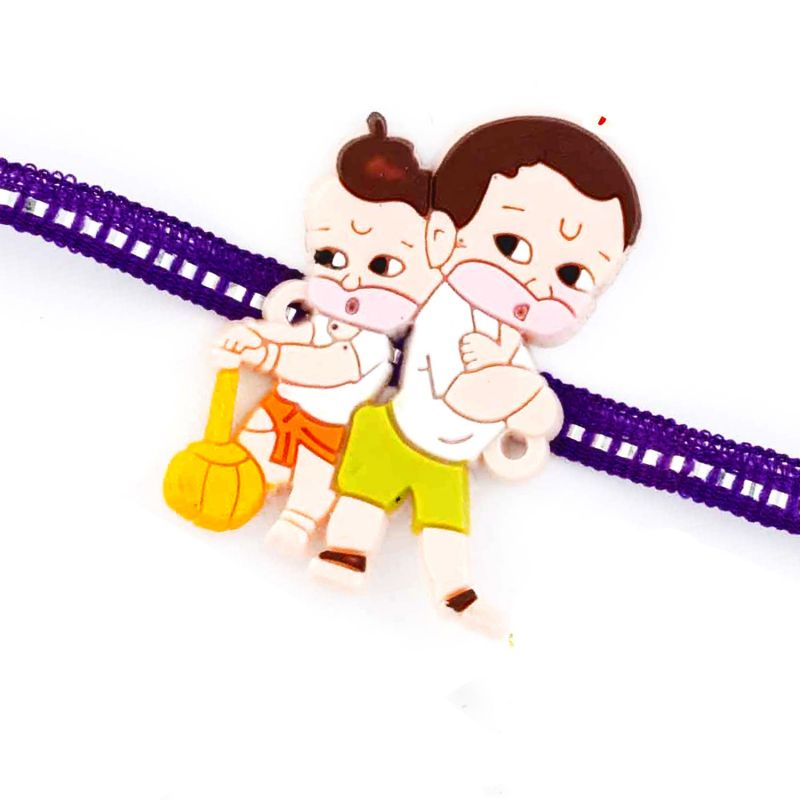 Buy Rakhi For Uae- Aapno Rajasthan Lovely Purple Band Bal Hanuman Motif Kids Rakhi - Uae_rk17814 online