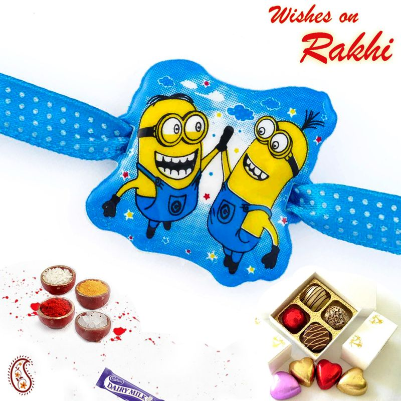 Buy Aapno Rajasthan Charming Minions Blue Band Kids Rakhi - Rk17819 online