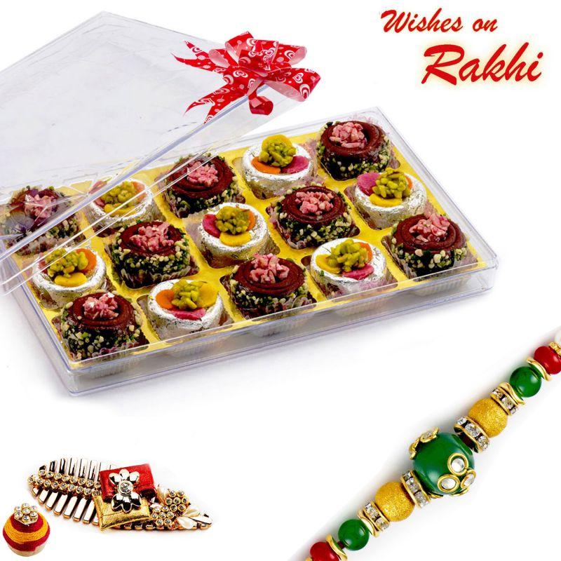 Buy Rakhi For Uae - Premium Chocolate Barfi & Kaju Sweets With Free 1 Rakhi - Uae_rm1765 online