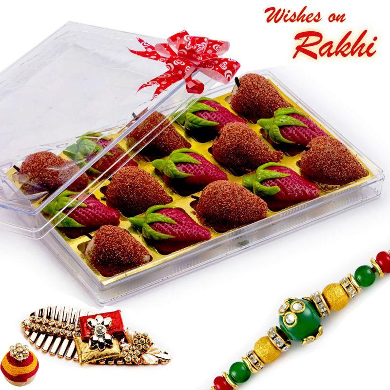 Buy Rakhi For Usa- Aapno Rajasthan Premium Kaju Strawberry & Kaju Litchi Sweets With Free 1 Rakhi - Us_rm1767 online