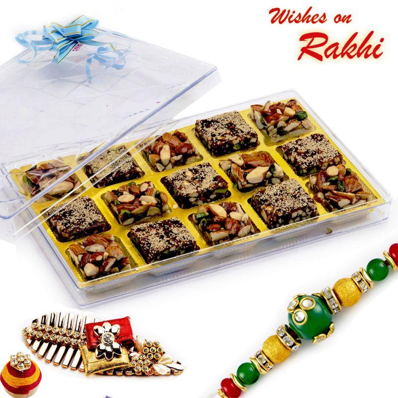Buy Rakhi For Uae - Premium Dryfruit Barfi Sweet With Free 1 Rakhi - Uae_rm1768 online