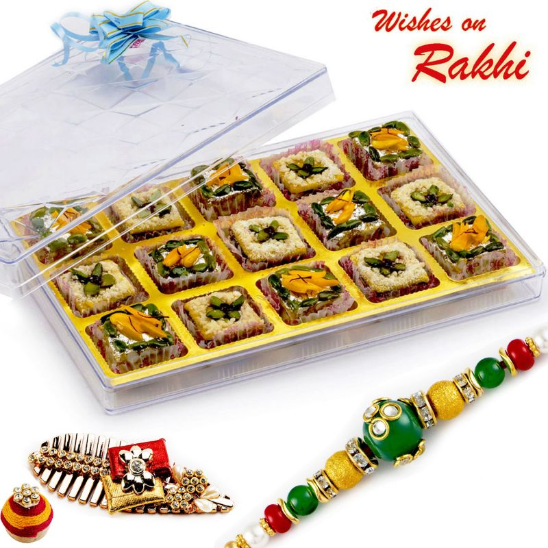 Buy Rakhi For Uae - Premium Pista Delight & Mix Dryfruit Sweets With Free 1 Rakhi - Uae_rm1772 online