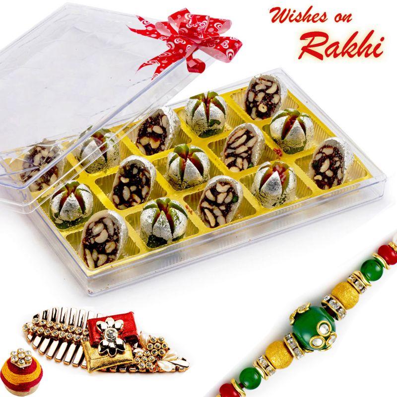 Buy Rakhi For Uk - Premium Kaju Anar & Chocolate Dryfruit Toss With Free 1 Rakhi - Uk_rm1777 online