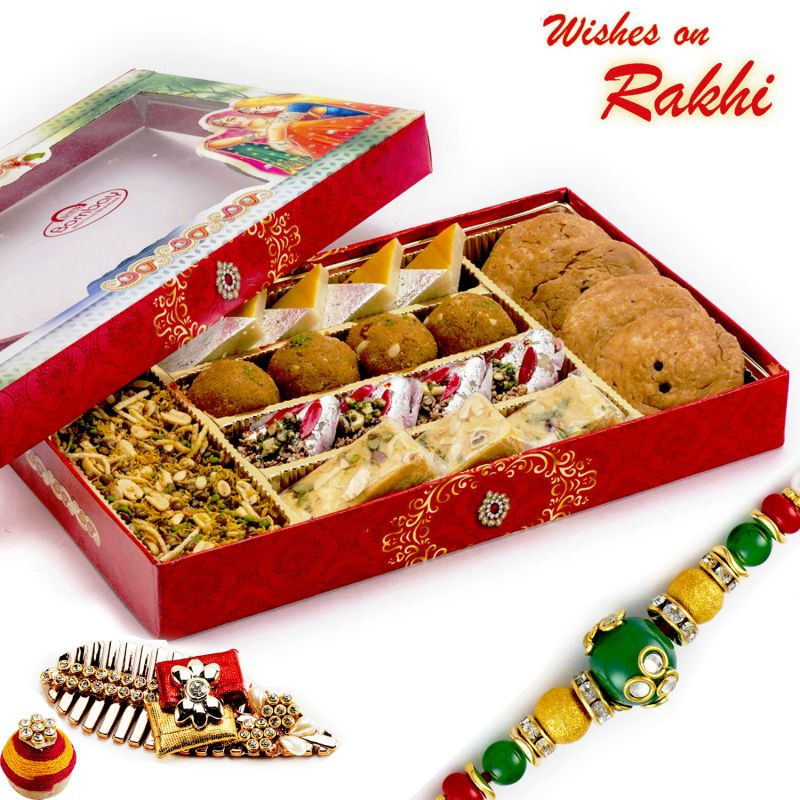 Buy Rakhi For Usa- Aapno Rajasthan Premium Assorted Namkeen & Sweets With Free 1 Rakhi - Us_rm1785 online