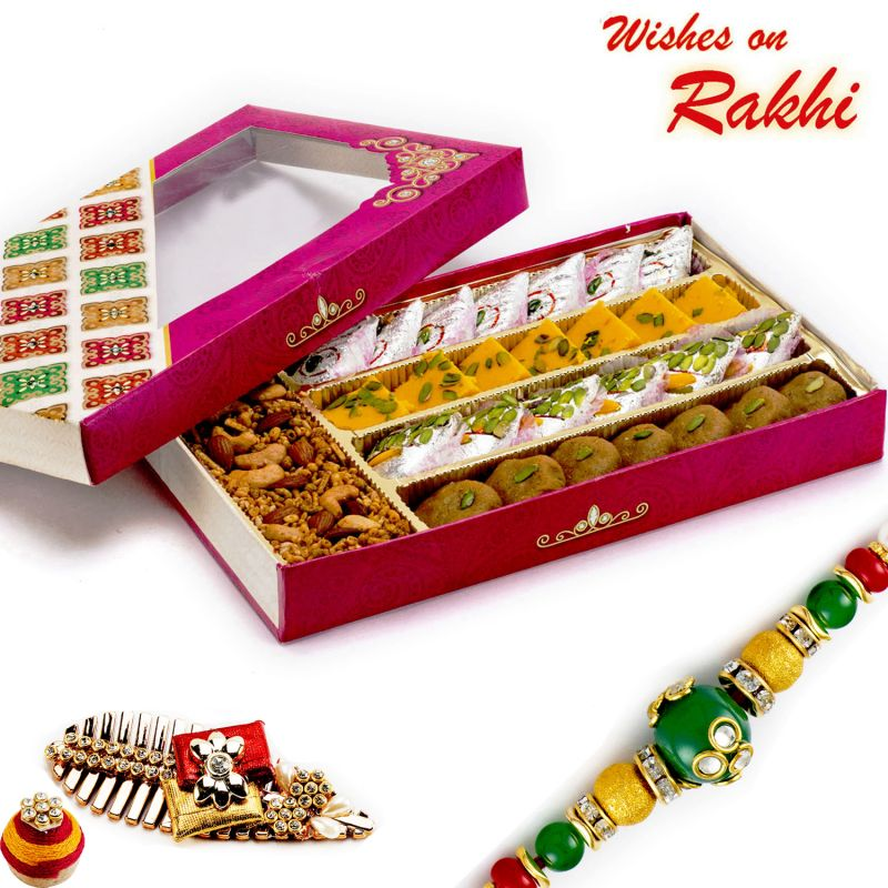Buy Rakhi For Uk - Premium Assorted Sweets & Namkeen Pack With Free 1 Rakhi - Uk_rm1791 online